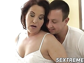 Curvy redhead granny takes throbbing young cock balls deep blowjob cumshot mature video