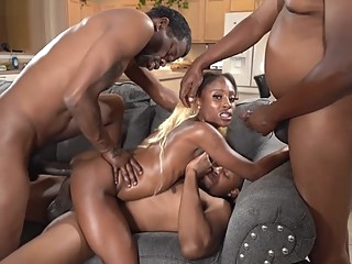 Hardcore Ebony Spinner Harmony Cage vs BBCTitans amateur anal double penetration video